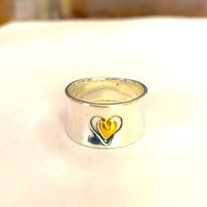A wonderful  sterling silver heart ring